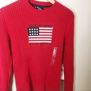 Ralph Lauren Sweaters - Vintage NWT Ralph Lauren Red Ribbed Flag Sweater